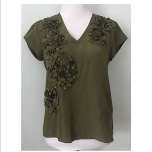 Talbots Silk Short Sleeve Top Olive Green
